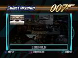 007: The World is Not Enough PlayStation Mission select screen.