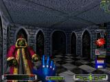 CyberMage: Darklight Awakening DOS An impressive-looking character in a temple. I decide to show my respect by opening a little sub-menu to the right