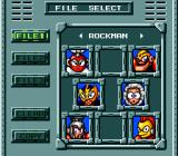 Mega Man: The Wily Wars Genesis File select screen (Japanese version). Each save file shows what villains have been defeated in each included game