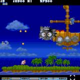 Parodius Sharp X68000 Oh no, the Cat Battleship is burning