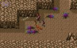 Dark Sun: Shattered Lands DOS Fighting colorful spiders in a cave dungeon