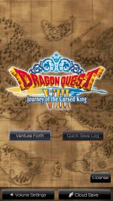 Dragon Quest VIII: Journey of the Cursed King iPhone The title screen. This version includes Quick Save and backing up of save files to iCloud.