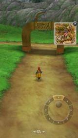 Dragon Quest VIII: Journey of the Cursed King iPhone Overworld. When walking, the context menu is hidden.