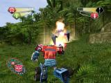 TransFormers PlayStation 2 Optimus returning fire at a Spider Tank.