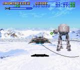 Super Star Wars: The Empire Strikes Back SNES 3D Snowspeeder stage (II): there is no other way to defeat the AT-ATs...