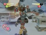 TransFormers PlayStation 2 Hot Shot battling a Heavy Unit among the buildings of the Research Base in Antarctica.