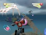TransFormers PlayStation 2 Optimus viewing the Aircraft Carrier in Mid Atlantic, defended by missiles and Jet Snipers.
