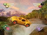 TransFormers PlayStation 2 Hot Shot in vehicle form, jumping over the waterfall.