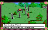 Conquests of Camelot: The Search for the Grail DOS Beautiful view (still in England), a cute mule, and stones that ask you riddles! An example of text input