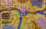 Dimo's Quest DOS The kingdom map: Your hut, king's castle, and five different worlds to complete...
