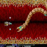 R-Type Sharp X68000 Fifth stage - The Den, facing a tapeworm-like enemy called Slither