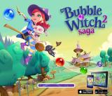 Bubble Witch 2 Saga  Browser Title screen with ads for the Android and iOS versioos.