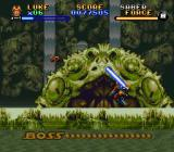 Super Star Wars: The Empire Strikes Back SNES Boss battle in Dagobah