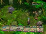 Breath of Fire IV PlayStation Battle in a beautiful forest area. The enemy just got damaged - look how proud Ryu looks!