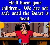 Disney's Beauty and the Beast: A Board Game Adventure Game Boy Color Gaston engaging in his usual fear-mongering.