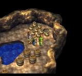 Dragon Warrior VII PlayStation Exploring a cave with pots and barrels. You can pick them up and break them