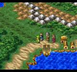 Dragon Warrior VII PlayStation World map travel, outside of a quiet city - note I can also travel with this ship!