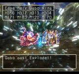 Dragon Warrior VII PlayStation Gabo casts an Explode spell - those impressive-looking guys don't stand a chance!..