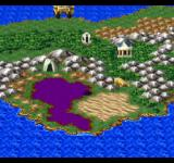 Dragon Warrior VII PlayStation New means of transportation - a flying space pod (or at least it looks like one)! You see some typical features: a temple, poison fields, cave entrance, and a large ship to the north