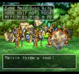 Dragon Warrior VII PlayStation Fighting fearsome-looking enemies with cool shields in a forest clearing. Melvin here throws rocks at them!