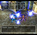 Dragon Warrior VII PlayStation Casting Zap on monsters in a tower - the scene even zooms out a bit for a better effect