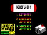 Bomb Fusion ZX Spectrum Main menu
