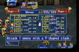 Grandia PlayStation Opening the moves and magic menu during a battle