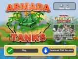 Armada Tanks Browser Title screen, with ads to buy the full version.