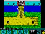 Yogi Bear & Friends in the Greed Monster: A Treasure Hunt ZX Spectrum Piranha watching the bridge
