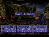 Legend of Legaia PlayStation General battle view and commands in a rocky dungeon area, over halfway through the game