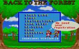 Skunny: Back to the Forest DOS The game's menu, shareware version