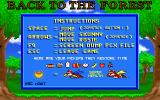 Skunny: Back to the Forest DOS The Instructions option from the main menu brings up this single screen. The objective is to free squirrels by disposing of toads but there's no FIRE button, Skunny must jump on them