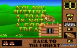 Skunny: Back to the Forest DOS This is in level 2. There's the prison. To free the occupants Skunny must dispose of the toad but first he must find his golden nuts