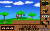 Skunny: Back to the Forest DOS This shot shows baddies, disposed of by jumping on them, and things to collect like the sweet in the lower left