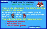 Skunny: Back to the Forest DOS The shareware version has ordering info, thirty six screens of it!