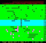 Johnny Reb Oric The battlefield.  Instead of left and right, the troops are placed on top and bottom of the screen in the Oric version.
