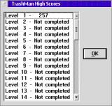 TrashMan OS/2 The high score table records the least number of moves used to solve each level.