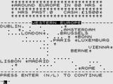 Around Europe in 80 Hours ZX81 Map of Europe.