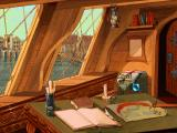 Gloriana DOS Your cabin - Here you can save/load your game, access your ship/merchandise information or access sea travel. You can even turn on or turn off your lamp...for no apparent reason.