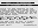 Gold ZX81 Gold: Title screen and start of your adventure.