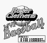 Roger Clemens' MVP Baseball Game Boy Title screen.