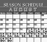 Roger Clemens' MVP Baseball Game Boy Season Schedule.