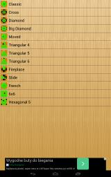 Peg Solitaire Android Board selection