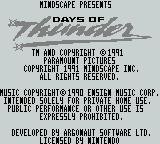 Days of Thunder Game Boy Title