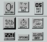 Days of Thunder Game Boy Pre race options