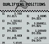 Days of Thunder Game Boy Qualifying positions