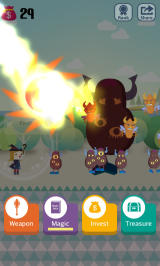 Pocket Wizard: Magic Fantasy! Android Casting a fireball spell to destroy the monstrosities.