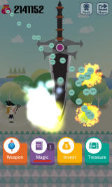 Pocket Wizard: Magic Fantasy! Android A Big Sword attack is one of the more jarring types of magic.