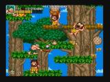Joe & Mac: Caveman Ninja Zeebo This is a vertical scrolling stage. The player must climb these trees, while watching out for those bee hives.