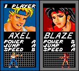 Streets of Rage Game Gear Pick your character